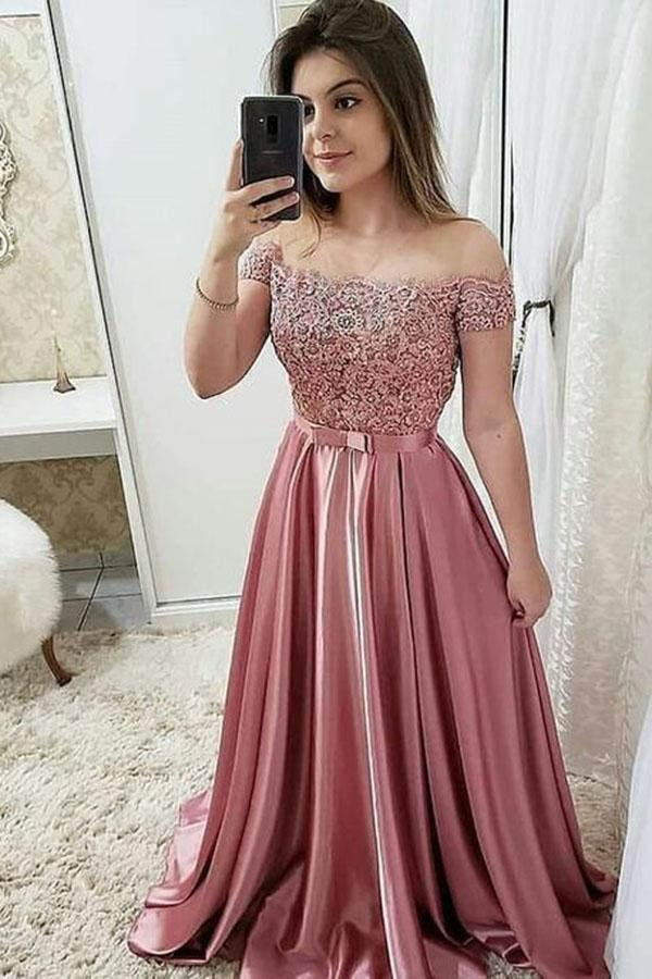 Chic Burgundy Off the Shoulder Floor Length Satin Lace Prom Dresses with Beads JS629