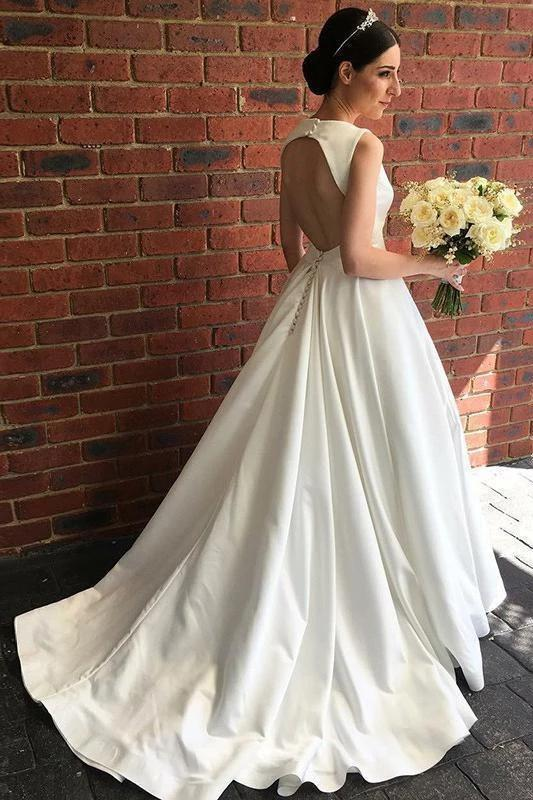 Chic Ivory Satin V Neck Wedding Dresses Open Back Modest Ball Gown Wedding Dress W1046