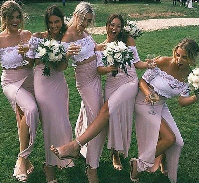 Chic Pink Short Sleeve Lace Side Slit Off the Shoulder Two Piece Bridesmaid Dresses JS958
