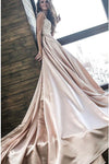 Chic Satin Prom Dresses Off the Shoulder Cheap Lace Sweetheart Wedding Dress PW520
