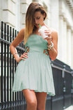 Criss Cross Cutout Mint Green Homecoming Dress Spaghetti Straps Chiffon Prom Dress H1250