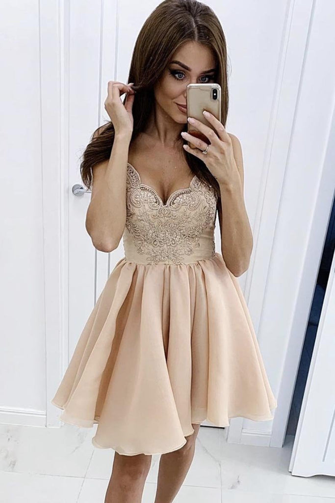 Cute Lace Chiffon V Neck Spaghetti Straps Homecoming Dresses Above Knee Prom Dress H1177