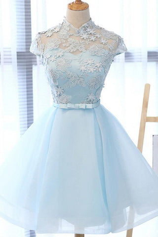 Cute A Line Light Blue High Neck Cap Sleeve Homecoming Dresses with Tulle Flowers H1074
