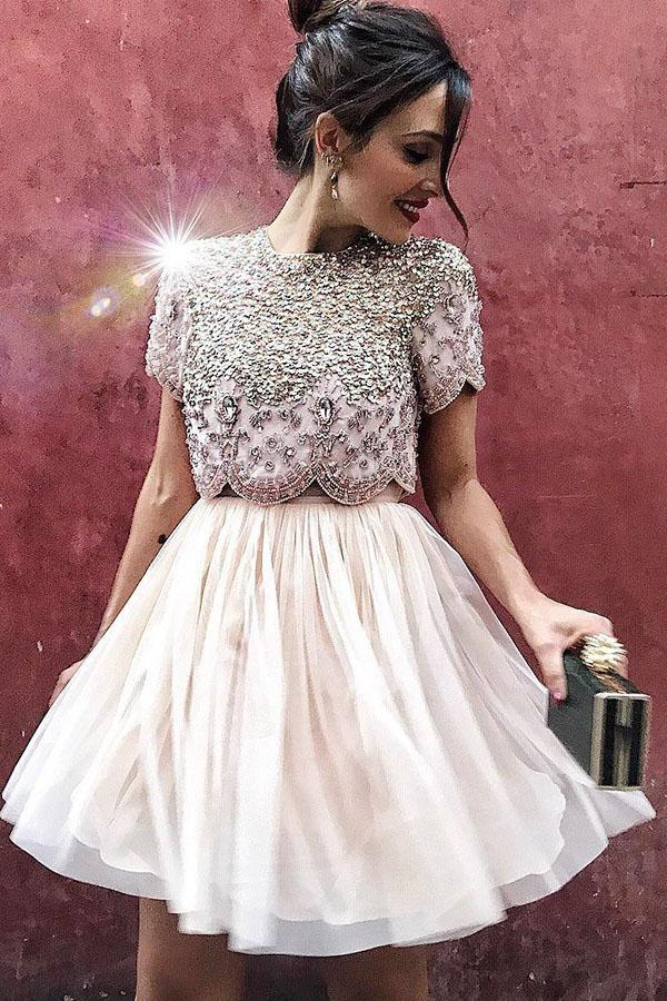 Cute A Line Two Pieces High Neck Above Knee Short Sleeve Beads Homecoming Dresses H1022