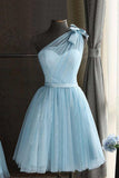Cute Baby Blue Tulle One Shoulder Short Prom Dress Bowknot Knee Length Party Dresses H1084