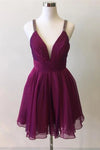 Cute Deep V Neck Purple Chiffon Beads Formal Dresses Homecoming Dresses H1152
