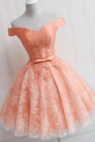 Cute Lace Appliques Satin V Neck Off the Shoulder Homecoming Dresses H1232