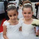 Cute Off White Tulle Backless Flower Girl Dresses with Pearl Lace Baby Dresses JS878