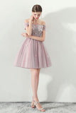Cute Off the Shoulder Short Sleeve Tulle Above Knee Homecoming Dresses JS821