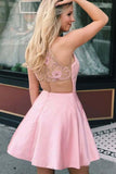 Cute Pink Mini Homecoming Dresses with Pocket Beaded Above Knee Short Prom Dresses H1054