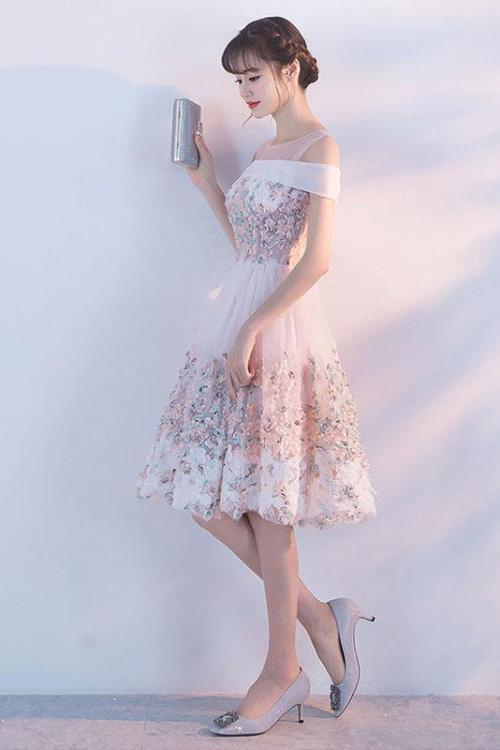 Cute Princess Pink Lace Flowers Knee Length Homecoming Dresses Short Prom Dresses H1003