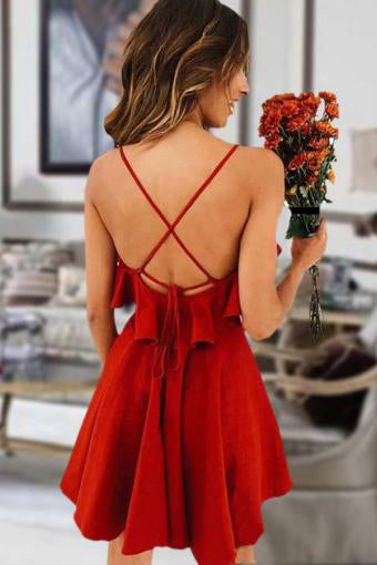 Cute Red Spaghetti Straps V Neck Criss Cross Chiffon Above Knee Homecoming Dresses H1265