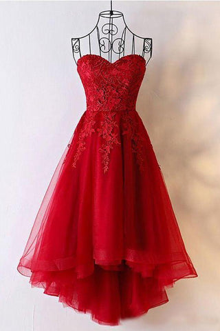 Cute Red Tulle Sweetheart Strapless Homecoming Dresses with Lace Short Prom Dresses JS834