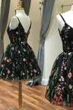 Cute Straps Black Embroidery Floral V Neck Short Homecoming Dress Short Prom Dress JS889