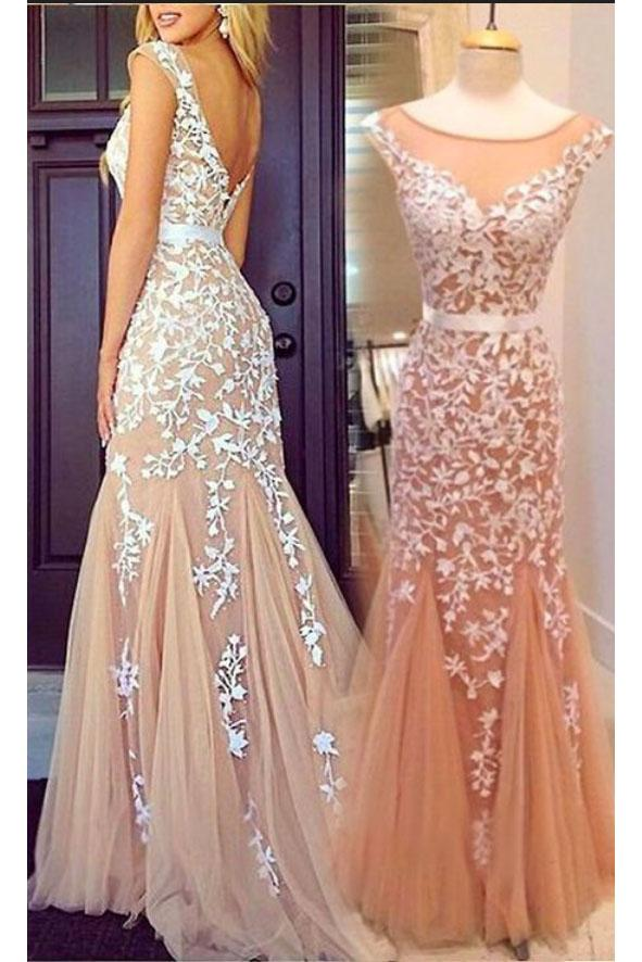 Cap Sleeves Mermaid Round Neckline Appliques Tulle Backless Lace Prom Dresses UK JS426