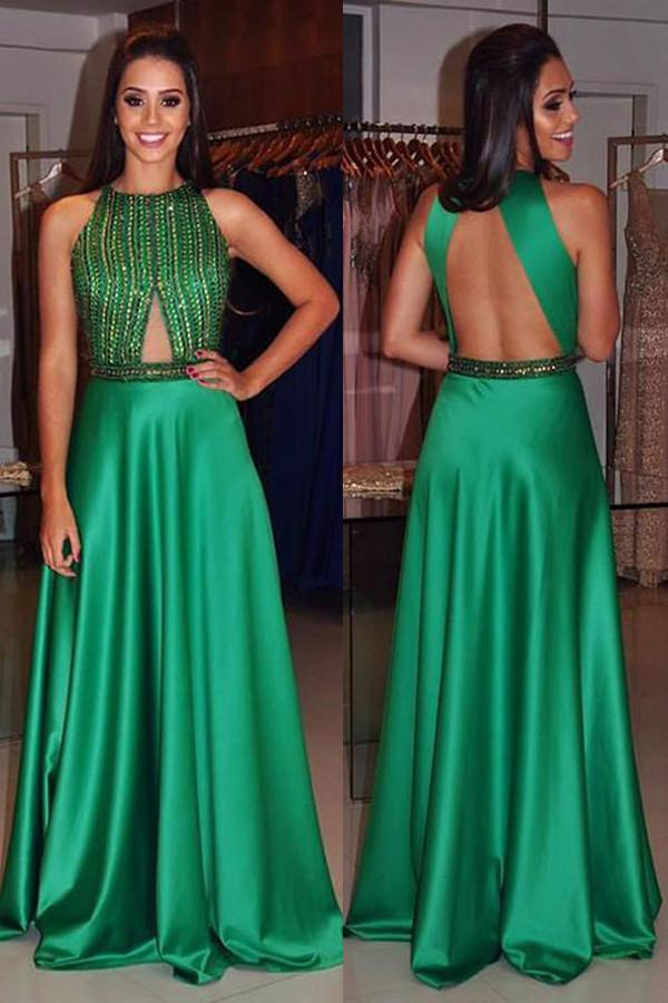 A-Line High Neck Sleeveless Green Open Back Satin with Beading Prom Dresses JS394
