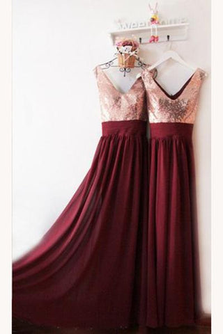 Dark Burgundy V Neck Chiffon Bridesmaid Dresses with Sequin V Back Prom Dresses JS837