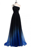 Dreamy A-line One Shoulder Sweep Train Chiffon Prom/Evening Dresses With Beads JS854