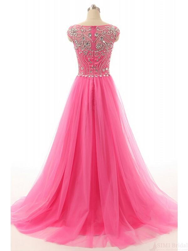 A-line Round Neck Beading Tulle Long Prom Dresses Evening Dresses JS554