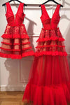 Charming Red V Neck Tulle Long Prom Dress Evening Dress