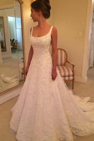 Elegant A-line Scoop Sweep Train Sleeveless Wedding Dress with Ivory Appliques W1081