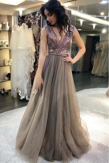 Elegant A Line Gray V Neck Tulle And Sequin Prom Dresses, Long Party Dresses PW973