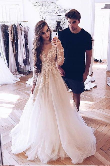 Elegant Illusion Neck Long Sleeves Tulle Wedding Dress with Appliques Bridal Dress JS633