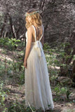 Elegant Ivory Bohemian Lace Prom Dress V Neck Backless Country Wedding Dress W1072