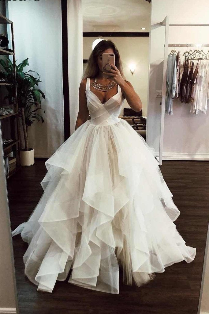 Elegant Ivory Tulle V Neck Spaghetti Straps Wedding Dresses Long Cheap