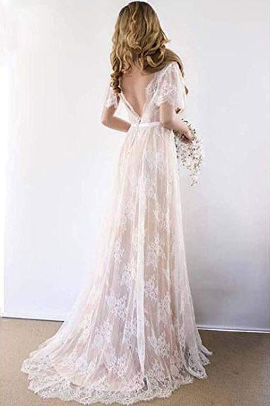 Elegant Lace V Neck Beach Wedding Dresses Short Sleeve Long Backless Wedding Gowns W1075