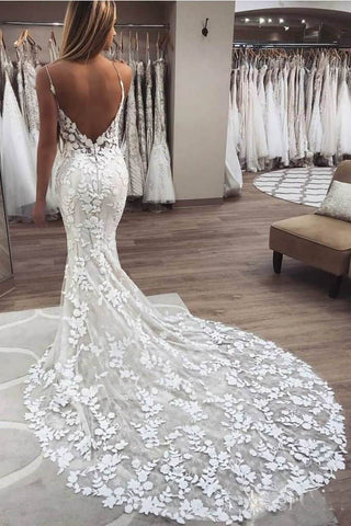 Elegant Mermaid Spaghetti Straps Lace V Neck Ivory Wedding Dresses Bridal Dresses JS776