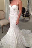 Elegant Mermaid Sweetheart Lace Court Train Wedding Dress with Spaghetti Straps PW422