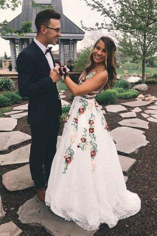 Elegant White Lace Long Prom Dresses Floral Print Backless V Neck Evening Dresses JS622