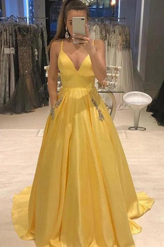 Elegant Yellow Spaghetti Straps A Line Satin V Neck Prom Dresses With Beads Pockets