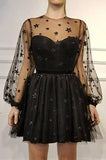 A Line Long Sleeves Tulle Sweetheart Spaghetti Straps with Flowers Black Homecoming Dresses JS955