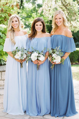 Simple A line Chiffon Off the Shoulder Flowy Bridesmaid Dresses Prom Dresses