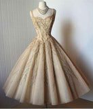 A-Line Straps Tea-Length Sleeveless Organza Homecoming Dresses with Appliques JS967