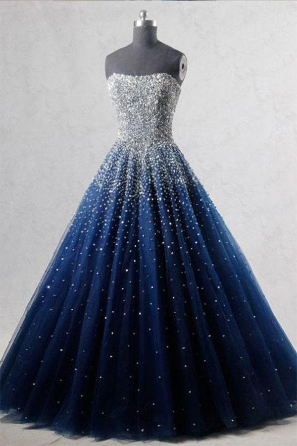 A Line Blue Tulle Long Prom Dresses UK Bling Bling Quinceanera Dresses