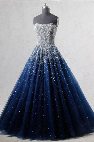 A-Line Blue  Tulle Long Lace up Prom Dresses UK JS519