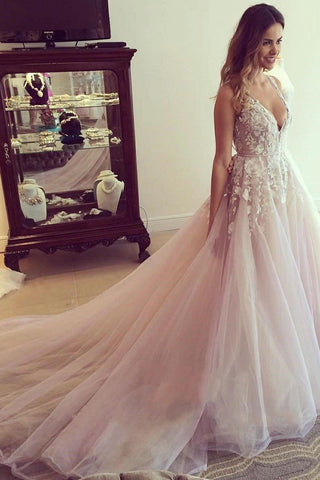 Gorgeous A-line Tulle Long Bridal Gowns Deep V-Neck Wedding Dresses