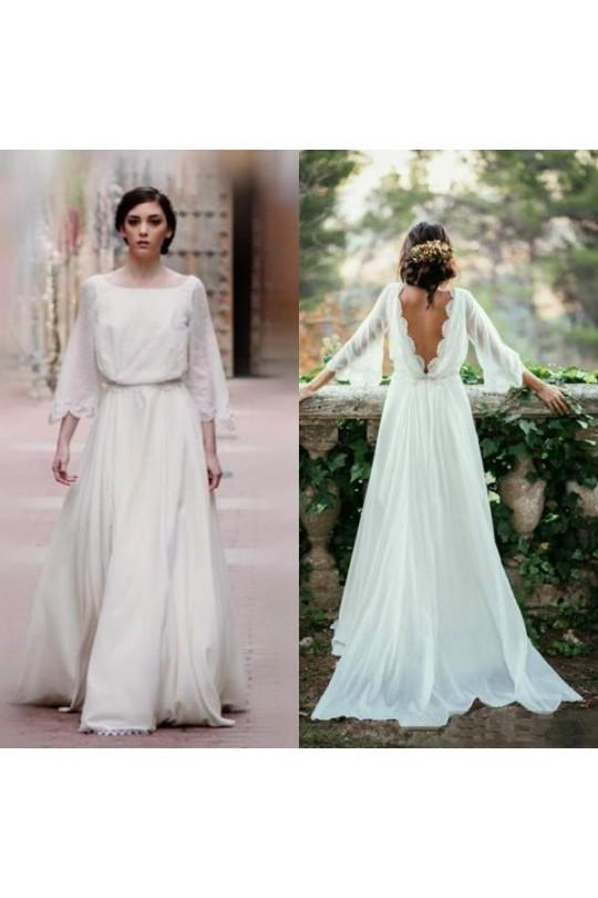 Chiffon Elegant Long Sleeves Vintage Cheap Wedding Dress