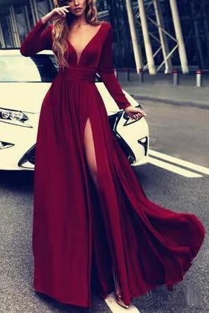 Flowy Long Front Split Green Chiffon Backless Elegant Long Sleeve Prom Dresses JS104