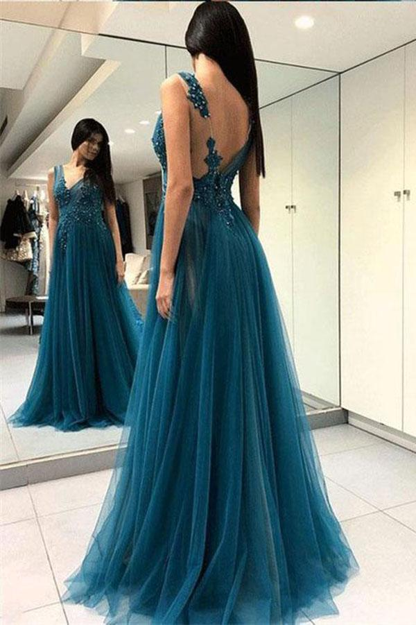 A Line Green V Neck Tulle Open Back Lace Beads Sleeveless Evening Prom Dresses JS769
