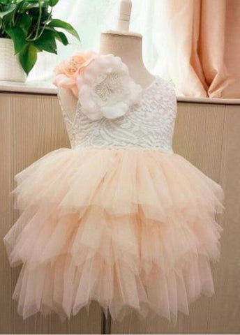 Princess Cute Pink Lace Tulle Flower Girl Dresses Layered Open Back Lovely Tutu Dresses JS776