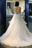 Elegant White A-Line Scoop Neck Tulle Backless Sleeveless Appliques Wedding Dress JS403