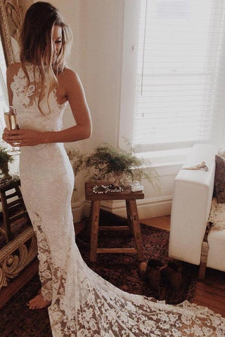 Simple Sleeveless Long Ivory Lace Halter Mermaid Sleeveless Wedding Dresses UK JS338