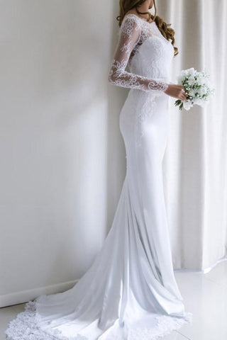 Elegant Lace Long Sleeves Mermaid Backless White Long Wedding Dress with Train JS164
