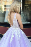 Gorgeous 3D Floral Appliques Tulle V Neck Lavender Prom Dresses Evening Dresses JS841