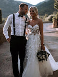 Gorgeous Ball Gown Sweetheart White Tulle Strapless Lace Wedding Dress with Court JS778