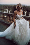 Gorgeous Ball Gown Sweetheart White Tulle Strapless Lace Wedding Dress